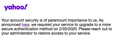 Yahoo!'s OpenID EOL message